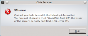 SSL error 61