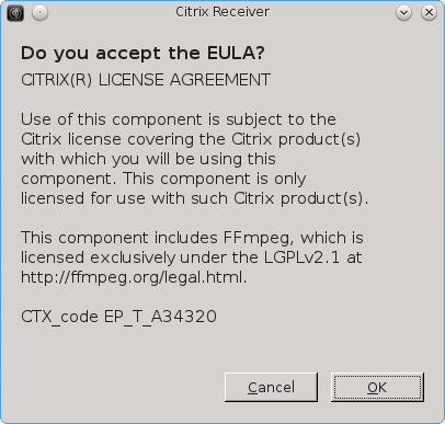 Screenshot of the EULA